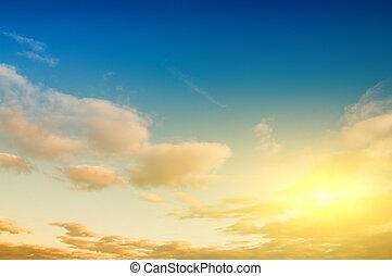amanhecer, céu, fundo