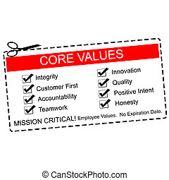 Core Values Coupon Concept - A red, white and black Core...