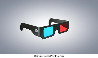 3D glasses rotate 360 animation with alpha matte.