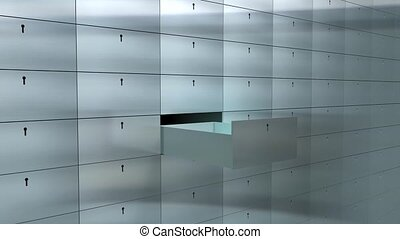 Safety deposit box - Artist rendering bank safe deposit box.