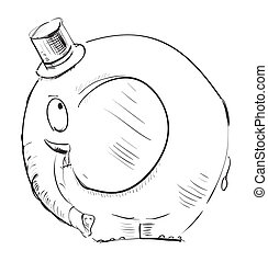 Cartoon elephant in top-hat - Funny animal character...