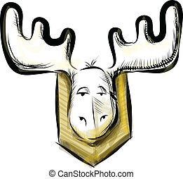 Deer head sketch vector illustration - Deer head isolated on...