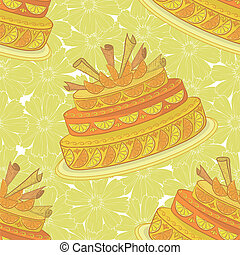 Seamless background, holiday pie decorated with oranges and...