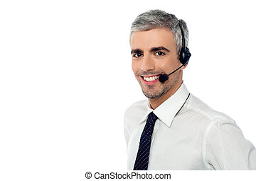 How can i help you - Call center consultant with headset