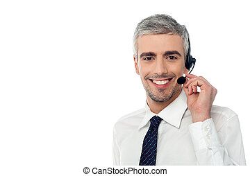 Smiling customer support executive - Customer service...