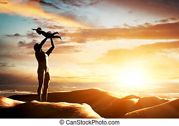 szczęśliwy, ojciec, świętując, jego, Mały, dziecko,...