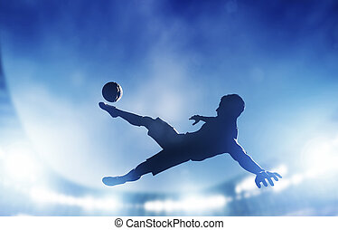 Football, soccer match. A player shooting on goal performing...