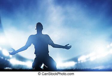 futebol, futebol, Partida, Um, jogador, celebrando, meta,...