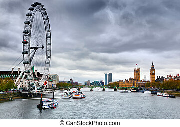 London, England the UK skyline. London Eye, Big Ben, River...