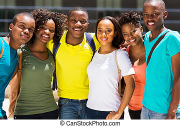 group of african college friends - group of happy african...