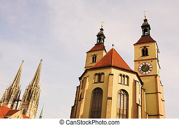 Cathedral in Regensburg, Germany during a sunny day in...