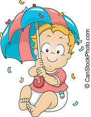Baby Boy Showing Umbrella