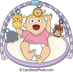 Baby Girl Musical Gym - Illustration of a Baby Girl Playing...