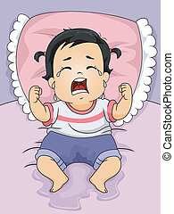 Wet Baby Girl - Illustration of a Baby Girl Crying Out Loud...
