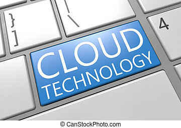 Cloud Technology - keyboard 3d render illustration with word...