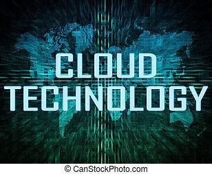 Cloud Technology text concept on green digital world map...