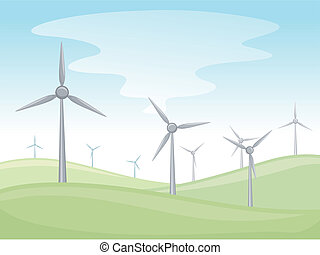 Windmills - Illustration of a Valley Full of Windmills
