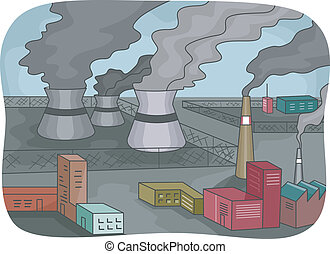 Power Plant Pollution - Illustration Featuring Power Plants...