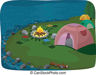 Lakeside Camp Site - Illustration Featuring a Camp Site...