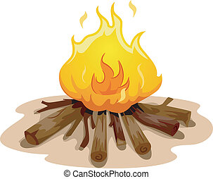 Camp Fire - Illustration Featuring a Camp Fire Burning...