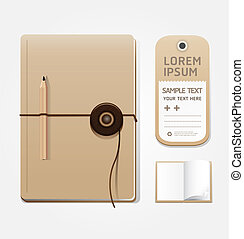 blank notebook openpage with tag template for design layout...