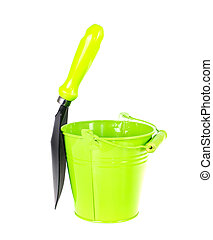 Bucket and spade isolated on white