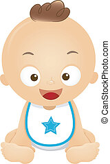 Baby Boy Bib - Illustration of a Happy Baby Boy Wearing a...