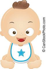 Baby Boy Bib - Illustration of a Happy Baby Boy Wearing a...
