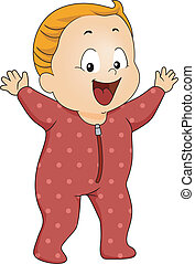 Baby Boy Footie Pajamas - Illustration of a Happy Baby Boy...