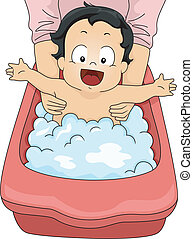 Baby Boy Bubble Bath - Illustration of a Happy Baby Boy...