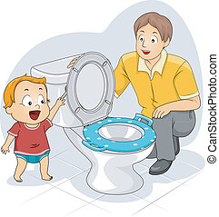 Toddler Flush - Illustration of a Father Teaching His...