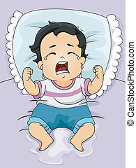 Wet Baby Boy - Illustration of a Baby Boy Crying Out Loud...