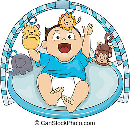 Musical Gym Baby - Illustration of a Happy Baby Boy Playing...
