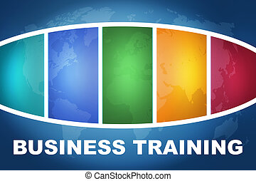 Business Training text illustration concept on blue...