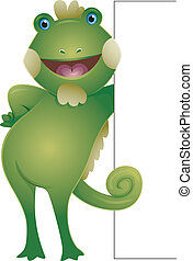 Iguana Board - Illustration Featuring a Smiling Iguana...