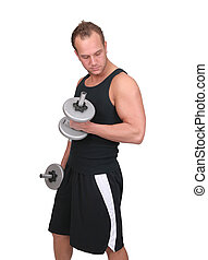 man lifting weights - one fit adult man lifting steel...