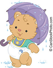 Baby Bear Umbrella - Illustration of a Cute Baby Bear Using...