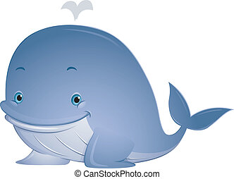 Whale - Illustration Featuring a Cute Whale with Water...