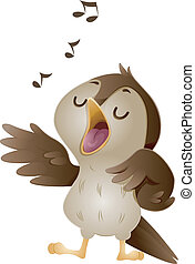 Singing Nightingale - Illustration of a Cute Nightingale...