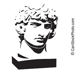 Apollo classic bust and head - Black and white illustration...