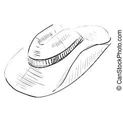 Cowboy hat sketch icon