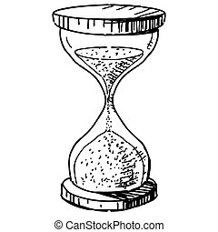 Sand glass clock. Hand drawing cartoon sketch vector...
