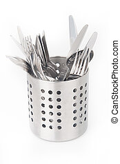 Cutlery holder isolated on white