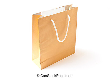 Brown shopping paper bag isolated on white background