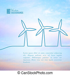 Wind turbines generating electricity. Vector illustration.