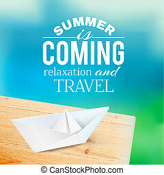 Summer background with text Vector illustration