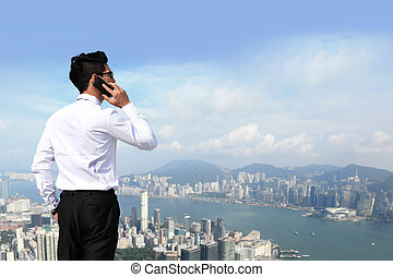 business men call by smart phone - Happy business men call...