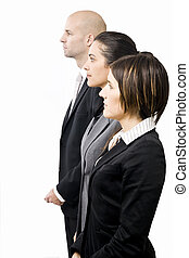 Businessteam in a row - Businessteam of three people in a...