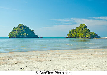 Andaman sea against blue sky at Krabi bay, Thailand.