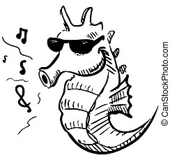 Seahorse in sunglasses whistling music - Funny animal...